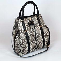 Bucket bag in python GLENI. Genuine front-cut python leather.
