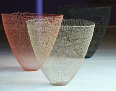 """Gjertrud Hals. """"Ultima Vessels' Knitted natural fibers and resin."""