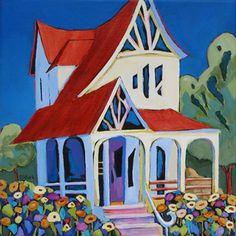 contemporary painting of a house and garden by Carolee Clark