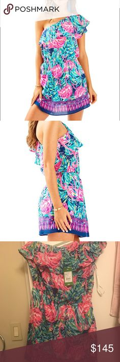 BNWT Lilly Pulitzer Rhett Romper Flamingo print off the shoulder Lilly Pulitzer romper. Brand new with tags, never worn. Lilly Pulitzer Dresses One Shoulder