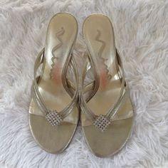 Women's Nina Metallic Gold Slip on Thong Sandals with Swarovski Crown Size 6 #Nina #SlipOn #Cocktail
