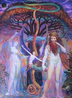 Adam and Eve in front of the Tree of Insight / Ernst Fuchs / Embodied Rudolf Hausner, Vienna School Of Fantastic Realism, Adam Et Eve, Art Visionnaire, Inspiration Art, Arte Popular, Visionary Art, Psychedelic Art, Art Design