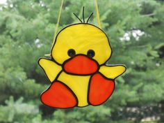 Cute Duckling Stained Glass Suncatcher by connysstainedglass, $20.00