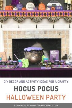 Throw a kids Halloween crafting party based on Hocus Pocus, involving lots of fun with slime and stickers! Get all of the DIY decor and activity ideas over on fernandmaple.com!