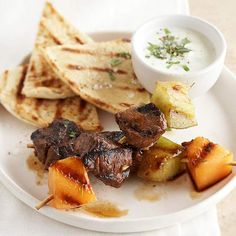 Honey-Lime Lamb and Melon Skewers Grilled cantaloupe and honeydew add a fresh summer spin to this Mediterranean-inspired kabob recipe. Our homemade yogurt sauce is ideal for dipping. Kabob Recipes, Grilling Recipes, Beef Recipes, Szechuan Recipes, Homemade Yogurt, Kebabs, Meat Skewers, Mediterranean Recipes, Meat Loaf