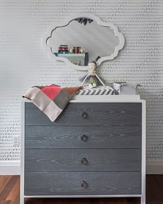 Gray, Modern Nursery featuring SISSY + MARLEY for Jill Malek Baby Elephant wallpaper + mod changing table!