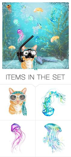 """""""I Hate When These Fog Up!"""" by christined1960 ❤ liked on Polyvore featuring art, ocean, cat, UnderTheSea, jellyfish and snorkle"""