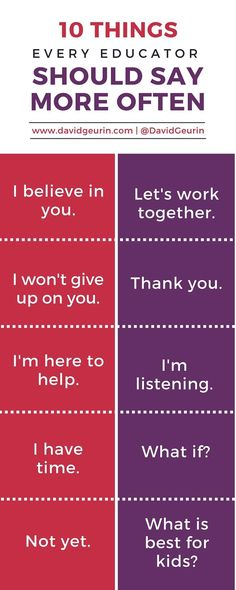 10 Things Every Educator Should Say More Often http://www.davidgeurin.com