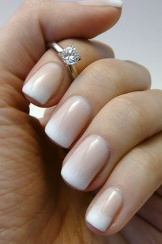 Elegant White To Beige Ombre Nail Art Design Idea For Wedding Nails