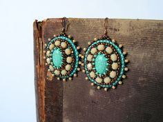 Embroidery Earrings Turquoise Earrings Beadwork earrings Bead embroidered jewelry Turquoise Beige Copper Earrings MADE TO ORDER