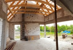 Salon , konstrukcja dachu,  roof construction, modern barn, house construction