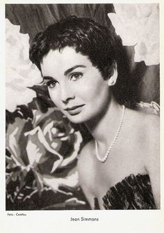 Demure, dark-haired English beauty Jean Simmons (1929 - 2010) was in the late 1940's a box office attraction in films  like Great Expectations and Hamlet. In 1950 she moved to Hollywood with her husband, Stewart Granger,  and soon became a major Hollywood star who would be twice nominated  for an Oscar.