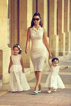 Mommy and me dresses... little high up for the older child's under portion but still cute!