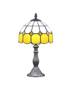 Modern Tiffany Yellow Glass Beside Table Lamps