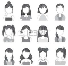 femme visage: Silhouette femmes maquillage et de la mode jeu de collection icône, créer par le vecteur