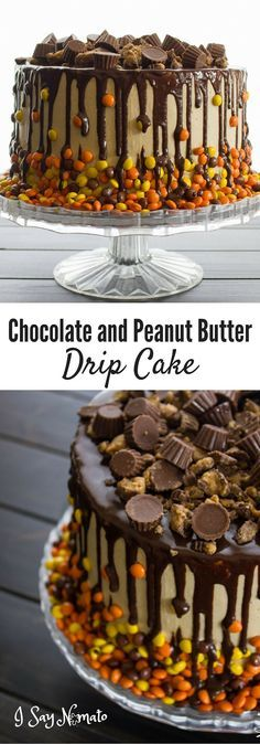 Chocolate and Peanut Butter Drip Cake - I Say Nomato Nightshade Free Food Blog