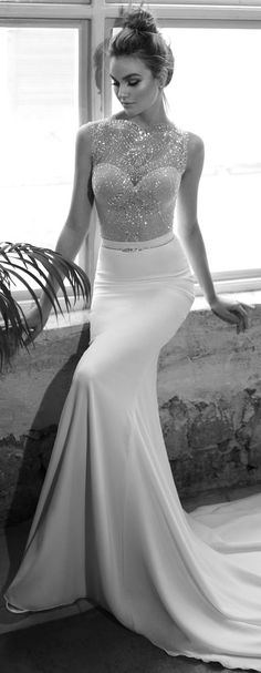 Wedding Dress by Julie Vino 2017 Romanzo Collection | Sleeveless, illusion neckline fitted bridal gown