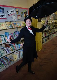 Mary Poppins makes an appearance for the  Story Time Halloween Party! We love Book-inspired costumes for Librarians!