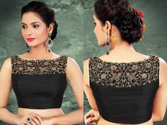 Looking for black blouse designs to wear with sarees? Check out ultra cool models that you can wear from simple sarees to trendy party wear. Modern Indian Saree Click VISIT link above for more info Blouse Back Neck Designs, Patch Work Blouse Designs, Simple Blouse Designs, Stylish Blouse Design, Fancy Blouse Designs, Bridal Blouse Designs, Black Saree Designs, Saree Jacket Designs, Saris