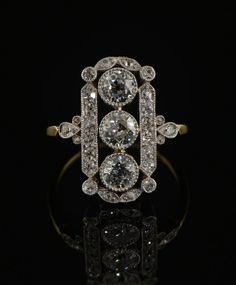 Edwardian 2.20 Ct diamond heirloom panel ring. £4,250.00, via Etsy.