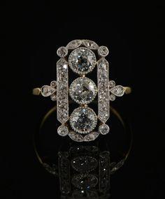 Edwardian 2.20 Ct diamond heirloom panel ring. £4,250.00, via Etsy.