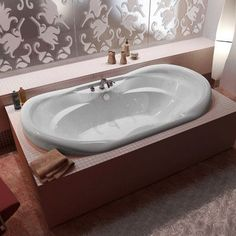 """Spa Escapes Antigua Dream Suite 70"""" x 41"""" Oval Air & Whirlpool Jetted Bathtub with Waterfall"""