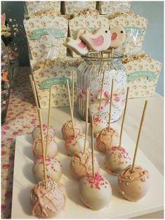 Cake pops at a bird baby shower party! See more party planning ideas at CatchMyParty.com!