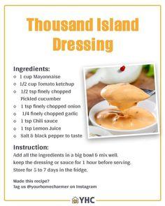 Thousand Island Dressing Recipe Healthy, 1000 Island Dressing Recipe, Goddess Dressing Recipe, Green Goddess Dressing, Salad Dressing Recipes, Salad Dressings, Homemade Thousand Island Dressing, Salsa Rosa, Homemade Dressing
