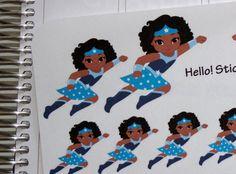 African American Flying Wonder Woman Planner by hellostickers