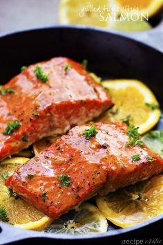 grilled_triple_citrus_salmon_ Best Salmon Recipe, Delicious Salmon Recipes, Grilled Salmon Recipes, Citrus Recipes, Fish Recipes, Seafood Recipes, Tilapia Recipes, Grilled Fish, Orange Recipes
