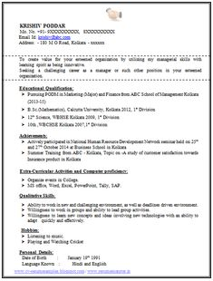 100 resume format for experienced sample template of a fresher mba and bsc student professional - Single Page Resume Template