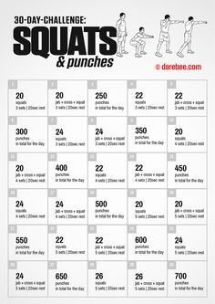 30-Day Squats and Punches Challenge by DAREBEE