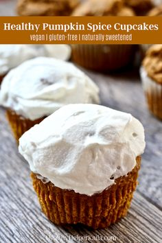 Vegan Gluten-Free Pumpkin Spice Cupcakes | Tis' the season for all things pumpkin! Traditional cupcakes get a healthy, vegan makeover with the added improvement of being PUMPKIN flavored! Naturally sweetened, whole grain, and so light n' fluffy! A crowd pleaser for vegans and non-vegans alike. #vegancupcakes #glutenfreecupcakes #veganbaking #pumpkincupcakes #healthycupcakes #healthybaking #pumpkinspice #vegandesserts #vegantreats #glutenfreeandvegan