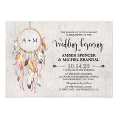 Boho Wedding Invitation Boho Dream Catcher Bohemian Wedding Invitations