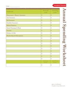 Use This Worksheet to Budget Your Annual Spending: Annual Spending Worksheet