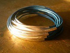 Mykonos Blue bracelets cuir et argent par HandmadebyAnnePotter