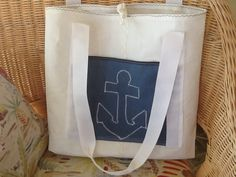 Up cycled tote bag made from retired sail, exterior pocket with anchor stitching on pocket, knot closure, sailcloth, travel nautical, sailor by Sailknot on Etsy