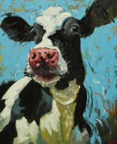 Cow painting 723 24x30 inch animal original oil painting by Roz Kitchen art work?