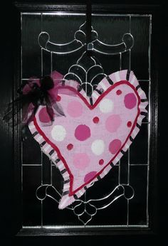 Heart Door Decoration  Painted Burlap by TheOwlsNest3 on Etsy, $25.00