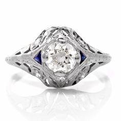 Vintage .60ct Diamond and Sapphire Art Deco by AJMartinJewelry
