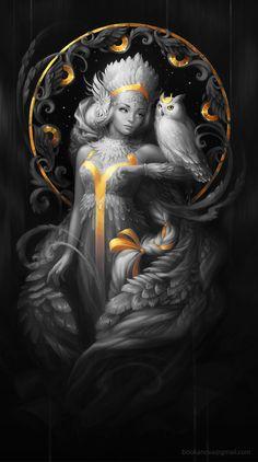 Night Owl by Svetlana Bukanova on ArtStation. Buho Tattoo, Art Visionnaire, Owl Artwork, Fantasy Art Women, Goddess Art, Fairytale Art, Beautiful Fairies, Fantasy Kunst, Inspiration Art