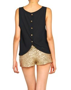 Button Me Up Tank and glittery bottoms