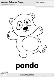 Free Panda Coloring Page From Super Simple Learning Tons Of Animal Worksheets And Flashcards