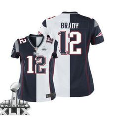 Nike New England Patriots Jersey 12 Tom Brady 2015 Super Bowl XLIX Blue  With White Two 2c2bd4a42