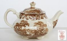 Clarice Cliff Chocolate Brown English Transferware Square Teapot Tea Pot Tonquin Waterfall Swans Sailboat