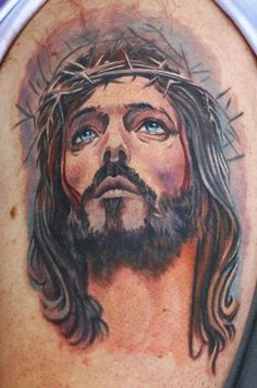 Find and save ideas about Christian jesus tattoo image on Tattoos Book. More than FREE TATTOOS Jesus Tatoo, Jesus Tattoo Sleeve, Christ Tattoo, Sleeve Tattoos, Arm Tattoo, Jesus Tattoo Design, Tattoo Trend, Christian Tattoos, Religious Tattoos