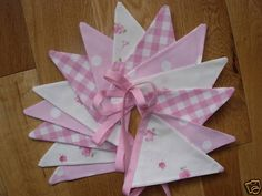 Handmade 15 flag bunting with Laura Ashley pink polka dot, gingham and Abbeville fabrics.