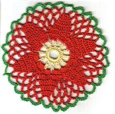 POINSETTIA COASTER Copyright (c) Joyce A Hodnett, 2005 Materials: Crochet Cotton #1...
