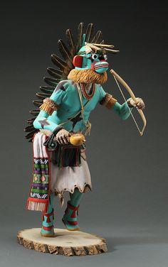 "Hopi Ahote Katsina  c. 1984 ""Sa-qua-ho-tea"" Hopi Ahote Katsina. Made by Arthur Holmes, Sr. (Huminimptewa) from the hopi Third Mesa. 19"" high $8,500.00"