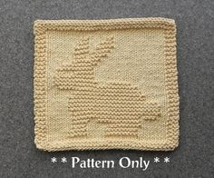 BUNNY RABBIT Knit Dishcloth Pattern - PDF Instant Download - Baby Wash Cloth Pattern - Knitted Dishcloth Pattern - Easy Knitting Pattern